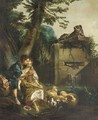 A shepherd teaching a shepherdess to play the flute - (after) Francois Boucher