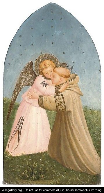 A Franciscan monk embracing an angel - Fra (Guido di Pietro) Angelico