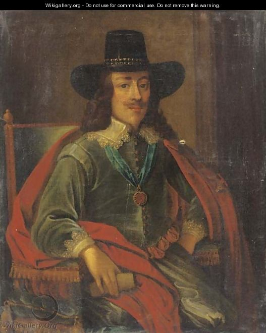 Portrait of King Charles I, seated three-quarter-length, in a green jacket, red cloak and black hat - (after) Edward Bower