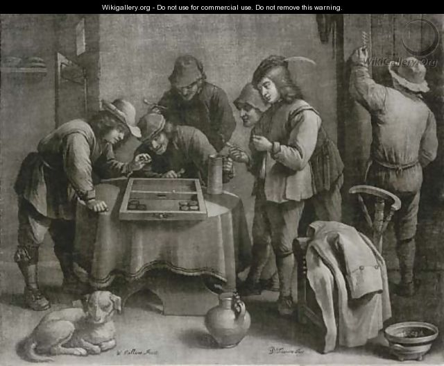 Peasants playing a game in an inn, by W. Vaillant - (after) David Teniers