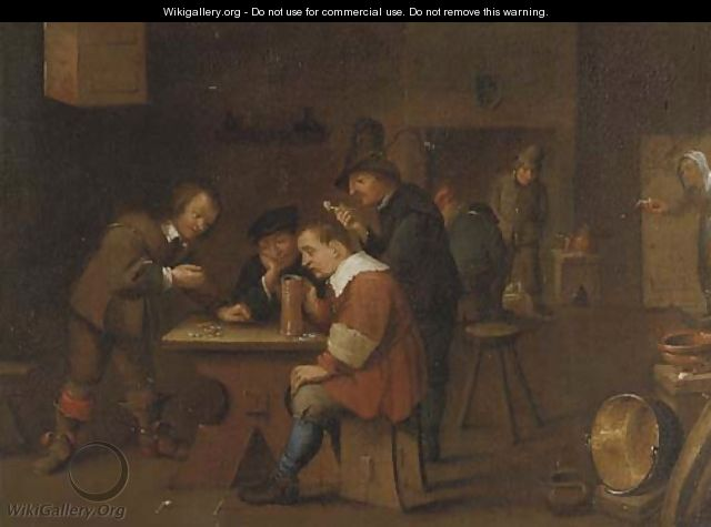 Peasants playing dice, smoking and drinking in an inn - David The Younger Teniers