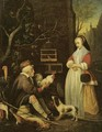 An old man selling game to an elegant lady - (after) Gabriel Metsu