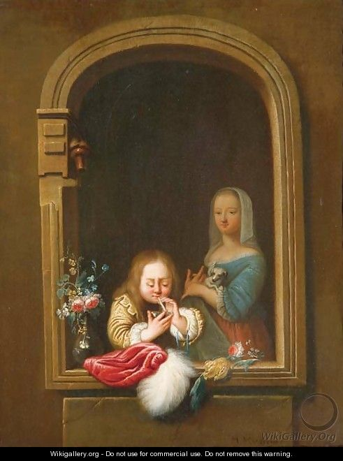 A boy in a window blowing bubbles, a girl with a dog in her arms behind - Frans van Mieris