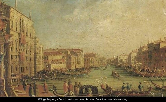 Ascension Day The Regatta on the Grand Canal, Venice, with the Palazzo Balbi on the left - (Giovanni Antonio Canal) Canaletto