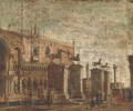 A capriccio of the Horses of San Marco set on pillars in the Piazzetta - (Giovanni Antonio Canal) Canaletto