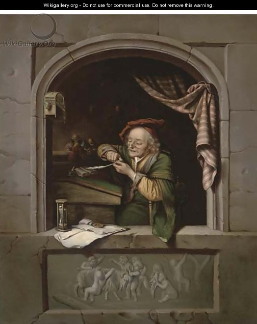A scholar sharpening his quill at a casement - (after) Gerrit Dou