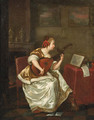 A woman, seated by a table in an interior, playing the lute - (after) Gerard Ter Borch