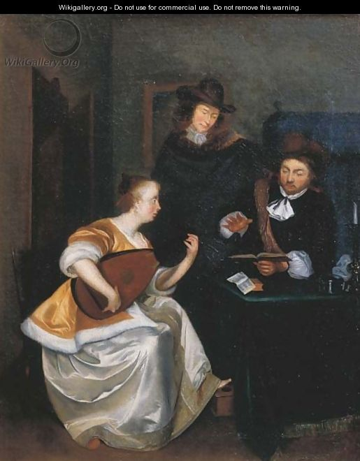 A woman playing the theorbo accompanied by two gentlemen, in an interior - (after) Gerard Ter Borch