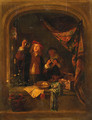 A Quack Standing Small Three Quarter Length At A Draped Stone Window Inspecting The Urine Of A Woman Standing Nearby - Gerrit Dou