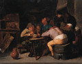 Boors smoking in an inn - (after) Adriaen Brouwer