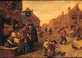 Boors listening to a liereman, outside a shoemaker's workshop, in a village street - (after) Adriaen Brouwer