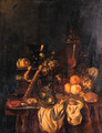 A Berkemeyer, Grapes And A Peeled Lemon On A Jewelry Box, Peaches, An Orange And Grapes In A Wan-Li Dish, Crabs And A Knife On A Pewter Plate - Abraham Hendrickz Van Beyeren