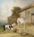 Crib and Rosa by an outhouse - Abraham Cooper