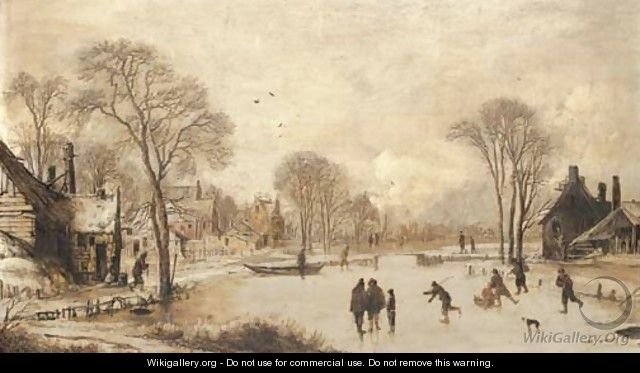 Skaters on a frozen canal by a village - Aert van der Neer