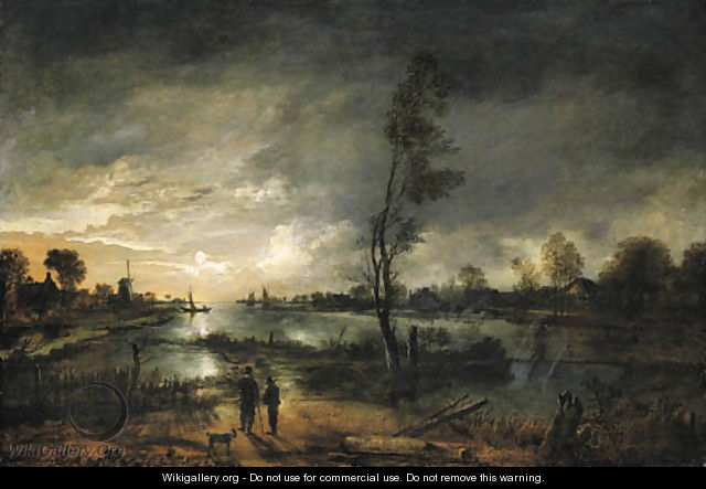 416e176b4e10 A moonlit river landscape with figures and a town beyond - Aert van ...