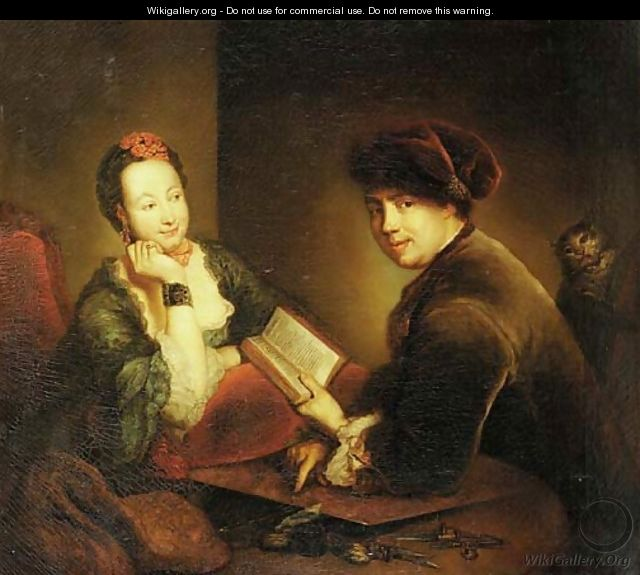 Portrait of a lady and a gentleman seated at a table in an interior - Antoine Pesne