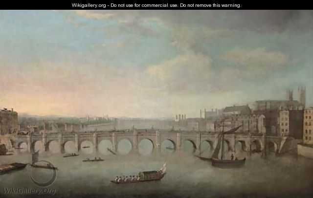 View of the Thames, with Westminster Bridge from the North - (Giovanni Antonio Canal) Canaletto
