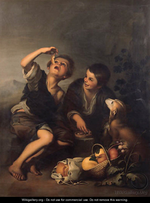 Boys seated in a landscape eating a melon - Bartolome Esteban Murillo