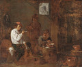 Boors smoking and drinking in a tavern interior - David The Younger Teniers
