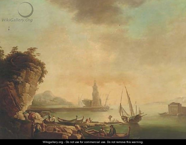 A Mediterranean harbour at sunset with stevedores on the quay - (after) Claude-Joseph Vernet