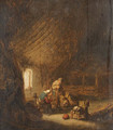 A peasant Family in a Barn with an old Woman spinning - Adriaen Jansz. Van Ostade