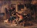 Boors fighting over a game of cards in a barn - Adriaen Jansz. Van Ostade