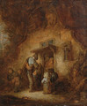 A hurdy-gurdy player with children at a cottage door - Adriaen Jansz. Van Ostade