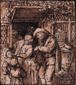 A Hurdy-Gurdy Player at the Door of a House, men and children listening on - Adriaen Jansz. Van Ostade