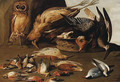 An owl on a perch with dead birds - Adriaen Geurtsz. Boogaert