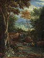 An Italianate wooded Landscape with Figures by a Waterfall - Adriaen Frans Boudewijns