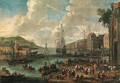 A port, with men-o-war and other shipping, townsfolk and fishermen on the shore - Adriaen Frans Boudewijns