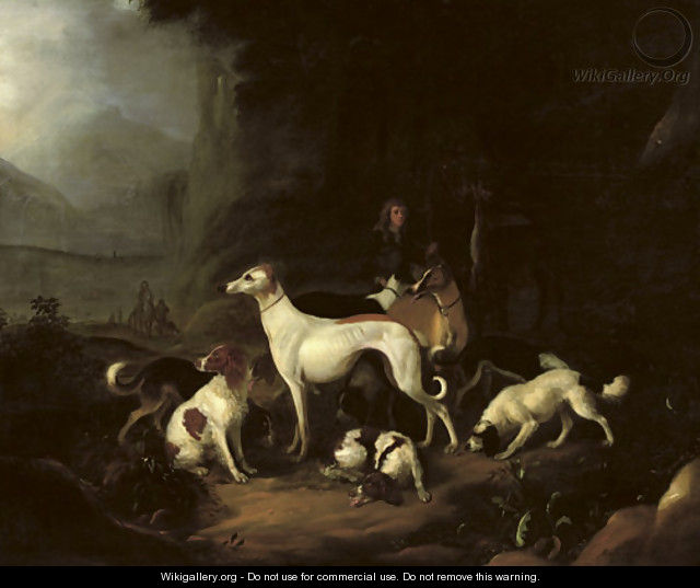 A hunter and his dogs resting at the entrance of a cave - Adriaen Cornelisz. Beeldemaker
