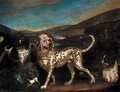 A dalmatian with a sportsman and hounds in a landscape - Adriaen Cornelisz. Beeldemaker