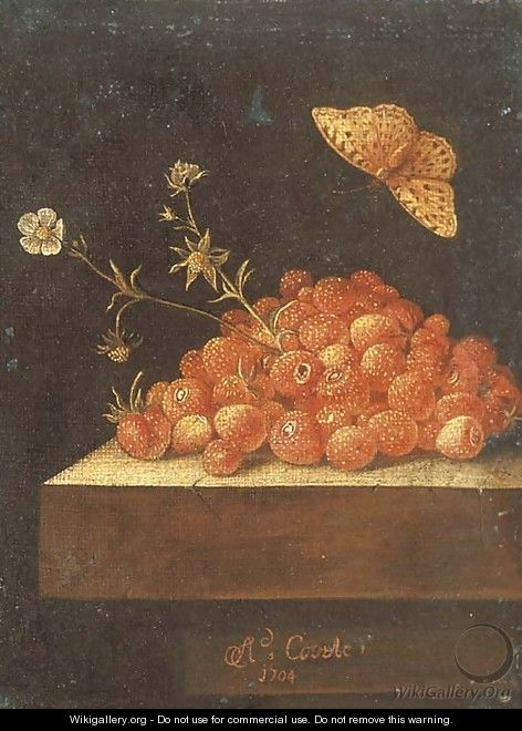 Stawberries in a pot on a stone ledge with a butterfly - Adriaen Coorte