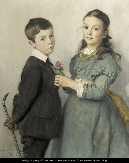 Portrait of a young boy and girl, three-quarter lengths - Adrian Scott Stokes