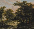 A wooded landscape with hunters by a cottage - Adriaen Hendricksz Verboom