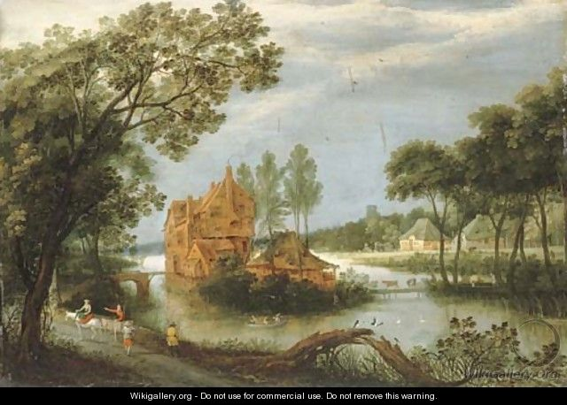 A river landscape with sportsmen shooting from a boat by a farm and peasants on a path - Adriaan van Stalbemt