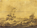 Dutch Galley Frigates and others shipping in choppy seas - a penschilderij - Adriaen or Abraham Salm
