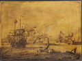 A naval engagement between English and Dutch men-of-war - a penschilderij - Adriaen or Abraham Salm
