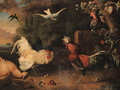 Two cocks fighting, with hens, a swallow and two exotic birds in a wooded landscape - Adriaen van Oolen