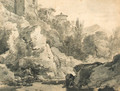 Italianate buildings on a rocky rise by a river, hills beyond - Adrian van der Cabel