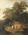 A wooded landscape with herdsmen resting and cows watering by a river - Adriaen Van De Velde