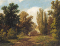 A figure on a sunlit path - Adrianus Jacobus Vrolyk