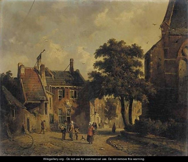A town in summer with figures conversing - Adrianus Eversen