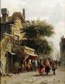 View of a street with busy market - Adrianus Eversen