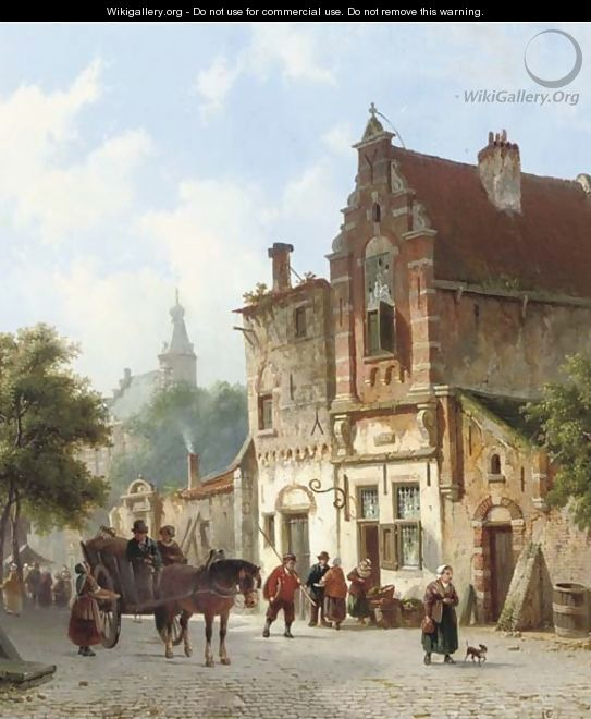 Daily activities in a sunlit Dutch town 2 - Adrianus Eversen