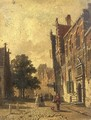 A town scene with elegant people strolling - Adrianus Eversen