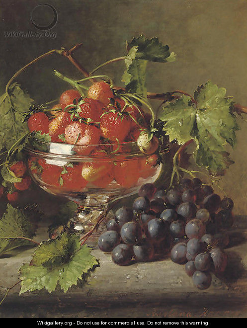 Strawberries in a glass bowl with grapes on a ledge - Adriana-Johanna Haanen