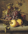 Apples and grapes on a ledge - Adriana-Johanna Haanen