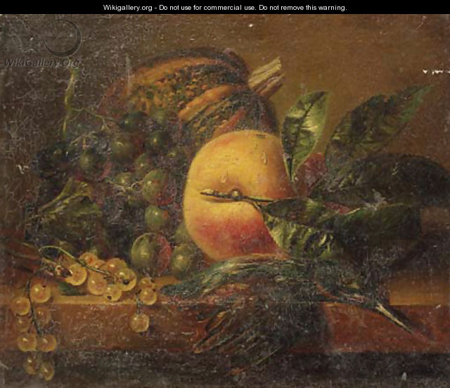A still life with fruit and a kingfisher on a ledge - Adriana-Johanna Haanen